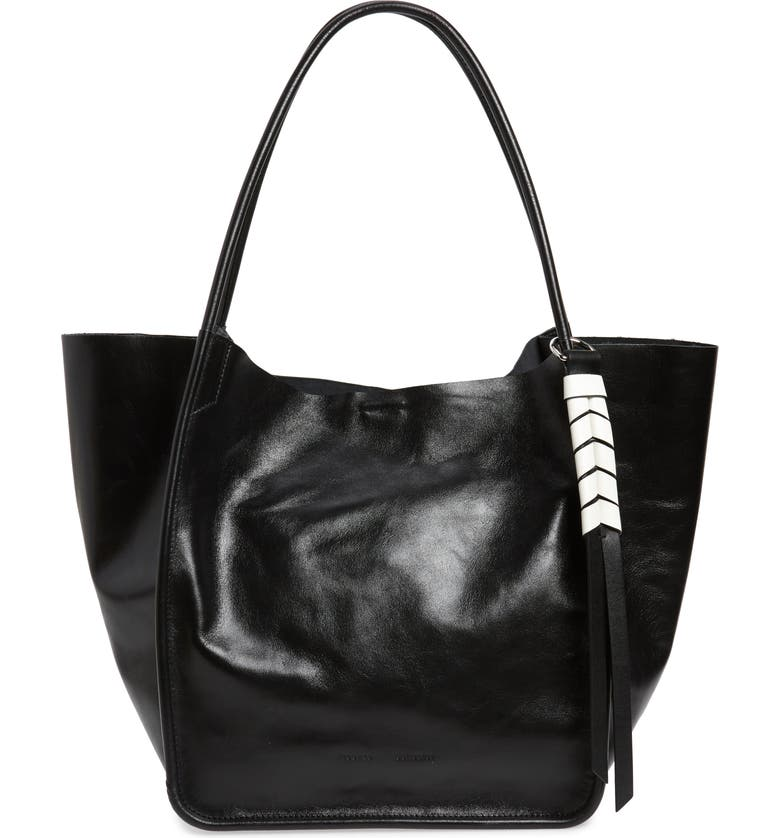 PROENZA SCHOULER Large Calfskin Leather Tote, Main, color, BLACK