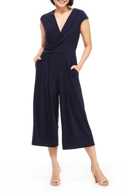 Image of Maggy London Draped Front Midi Jumpsuit