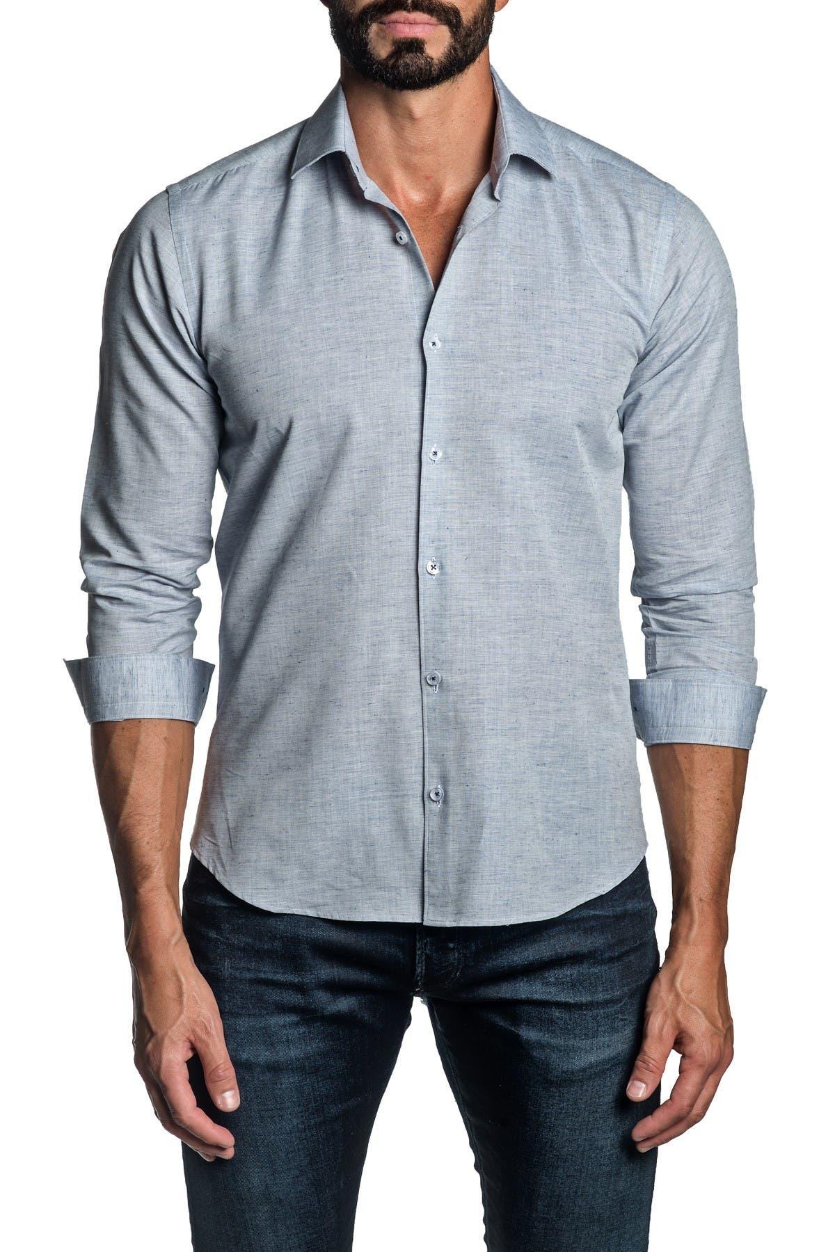 Jared Lang TRIM FIT BLUE MELANGE DRESS SHIRT