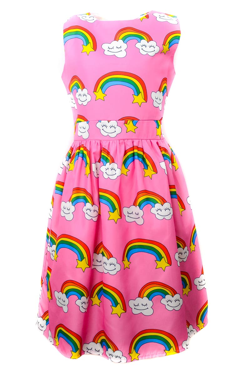 LOLA & THE BOYS Stars Rainbow Dress, Main, color, PINK