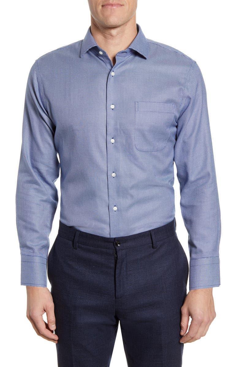 NORDSTROM Men's Shop Trim Fit Non-Iron Houndstooth Dress Shirt, Main, color, BLUE DEPTHS