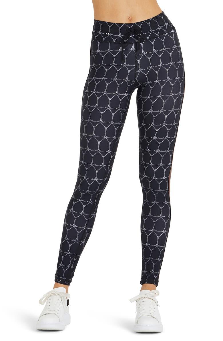 THE UPSIDE Martini Tie Waist Yoga Pants, Main, color, BLACK/ WHITE
