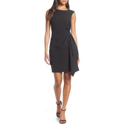 Eliza J Side Drape Laguna Crepe Cocktail Dress, Black