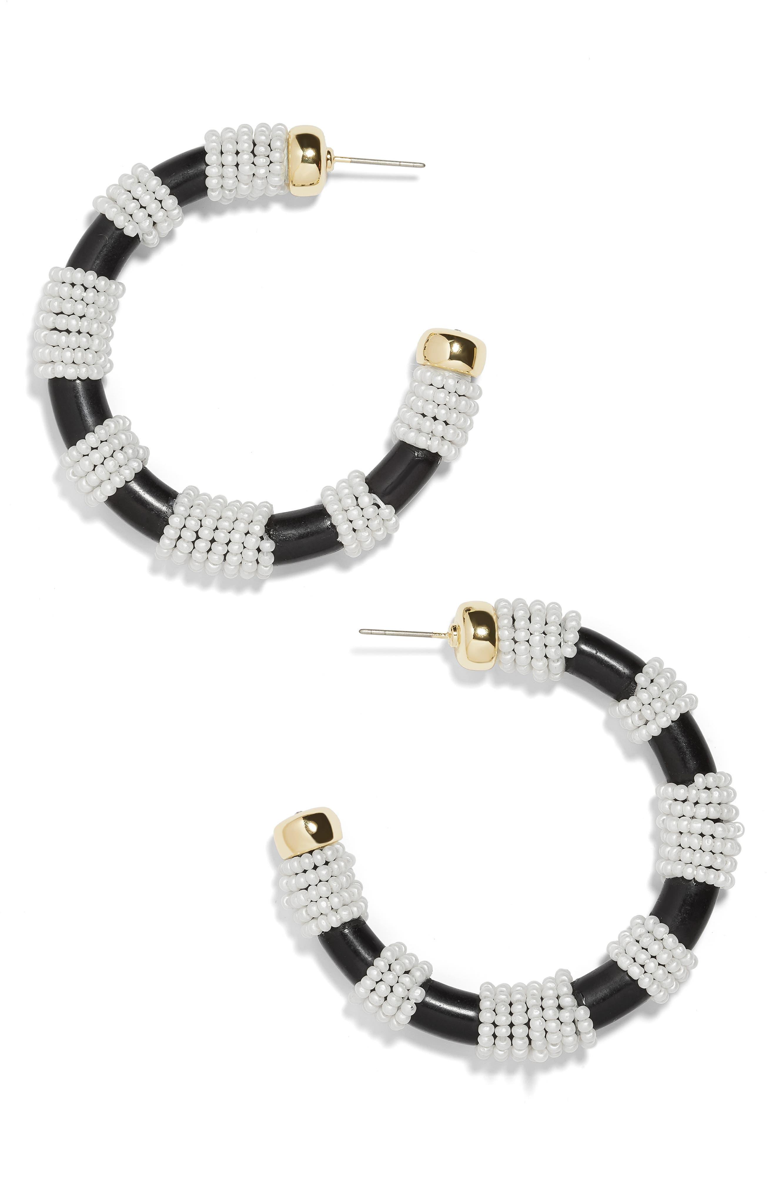 Beaded Hoop Earrings, Main, color, BLACK/ WHITE