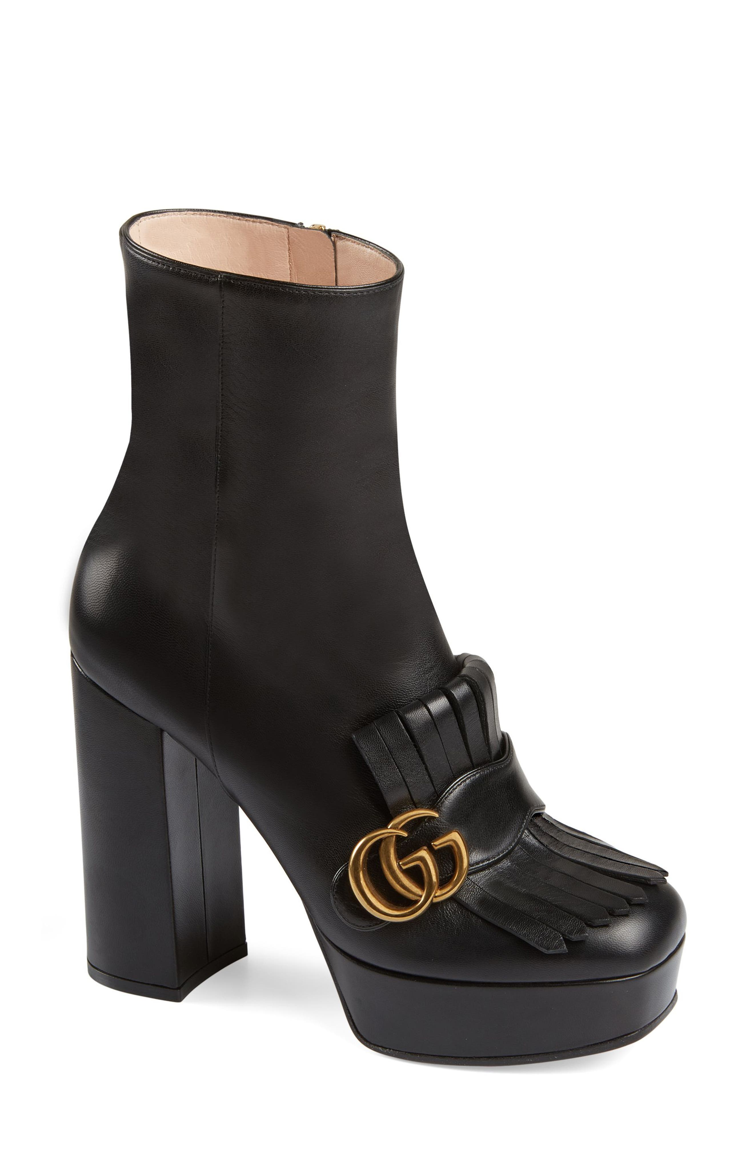 Gucci Gg Marmont Platform Bootie - Black