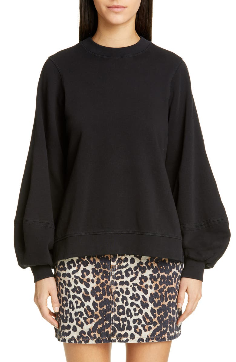 GANNI Isoli Sweatshirt, Main, color, BLACK