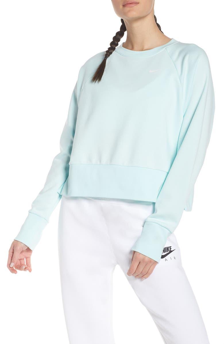 NIKE Dry Crop Training Sweatshirt, Main, color, TEAL TINT/ WHITE