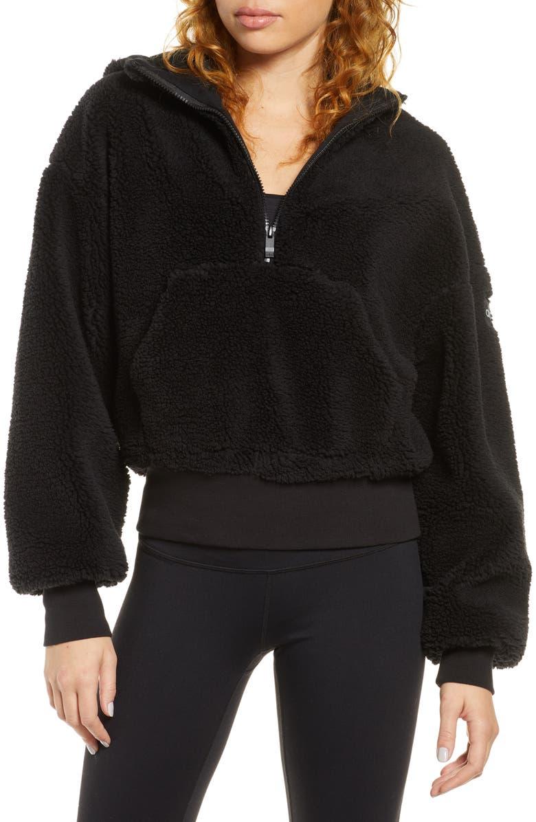 ALO Streetside Half Zip Faux Fur Hoodie, Main, color, BLACK