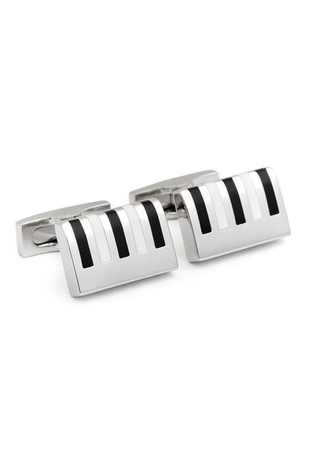 Image of Hickey Freeman Rhodium Plated Enamel Piano Keyboard Detail Cuff Links