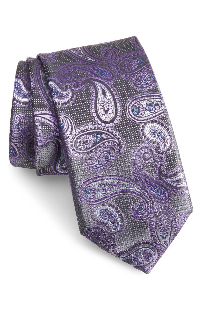 CANALI Paisley Silk X-Long Tie, Main, color, PURPLE