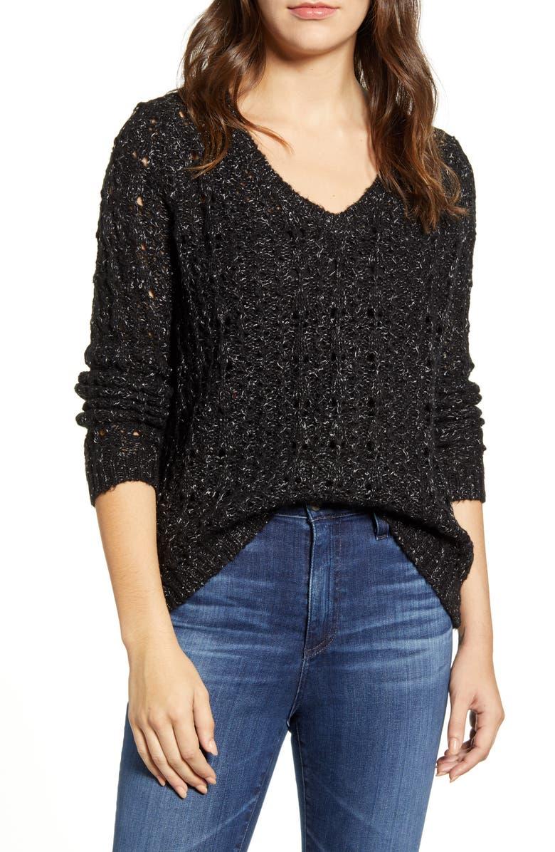 CASLON<SUP>®</SUP> Brushed V-Neck Sweater, Main, color, BLACK