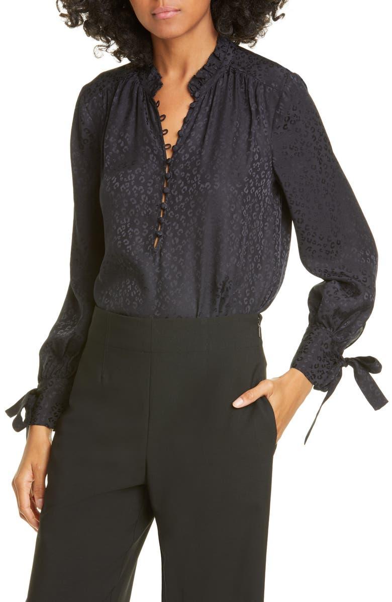 REBECCA TAYLOR Cheetah Silk Jacquard Blouse, Main, color, BLACK