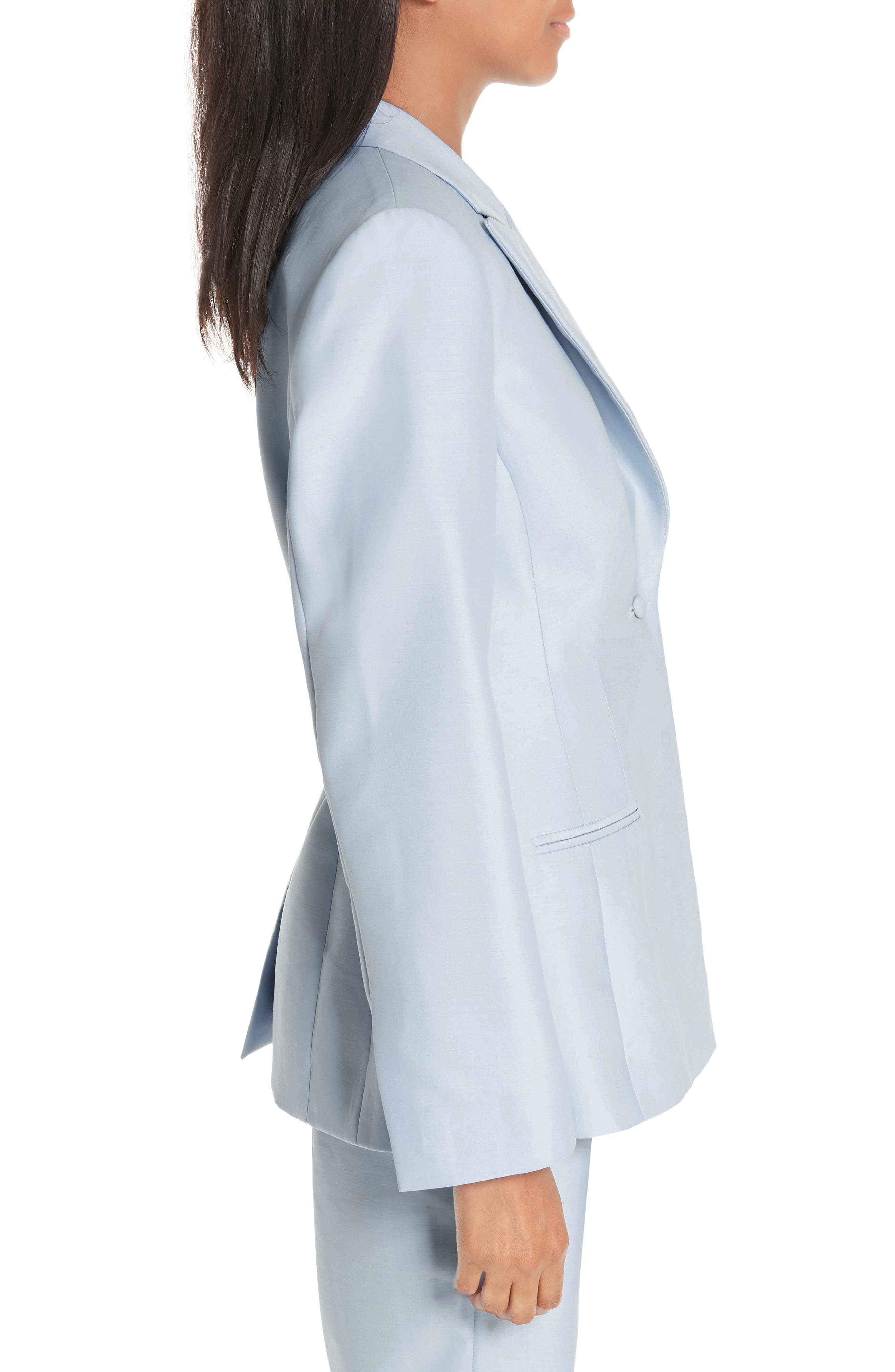 ,                             One-Button Wool & Silk Jacket,                             Alternate thumbnail 3, color,                             PALE BLUE