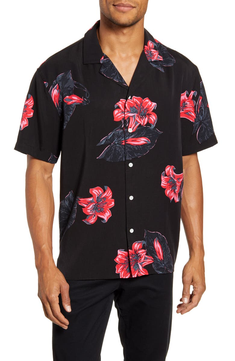 BONOBOS Cabana Slim Fit Floral Button-Up Camp Shirt, Main, color, TROPICALI LILLY CORAL LIPSTICK