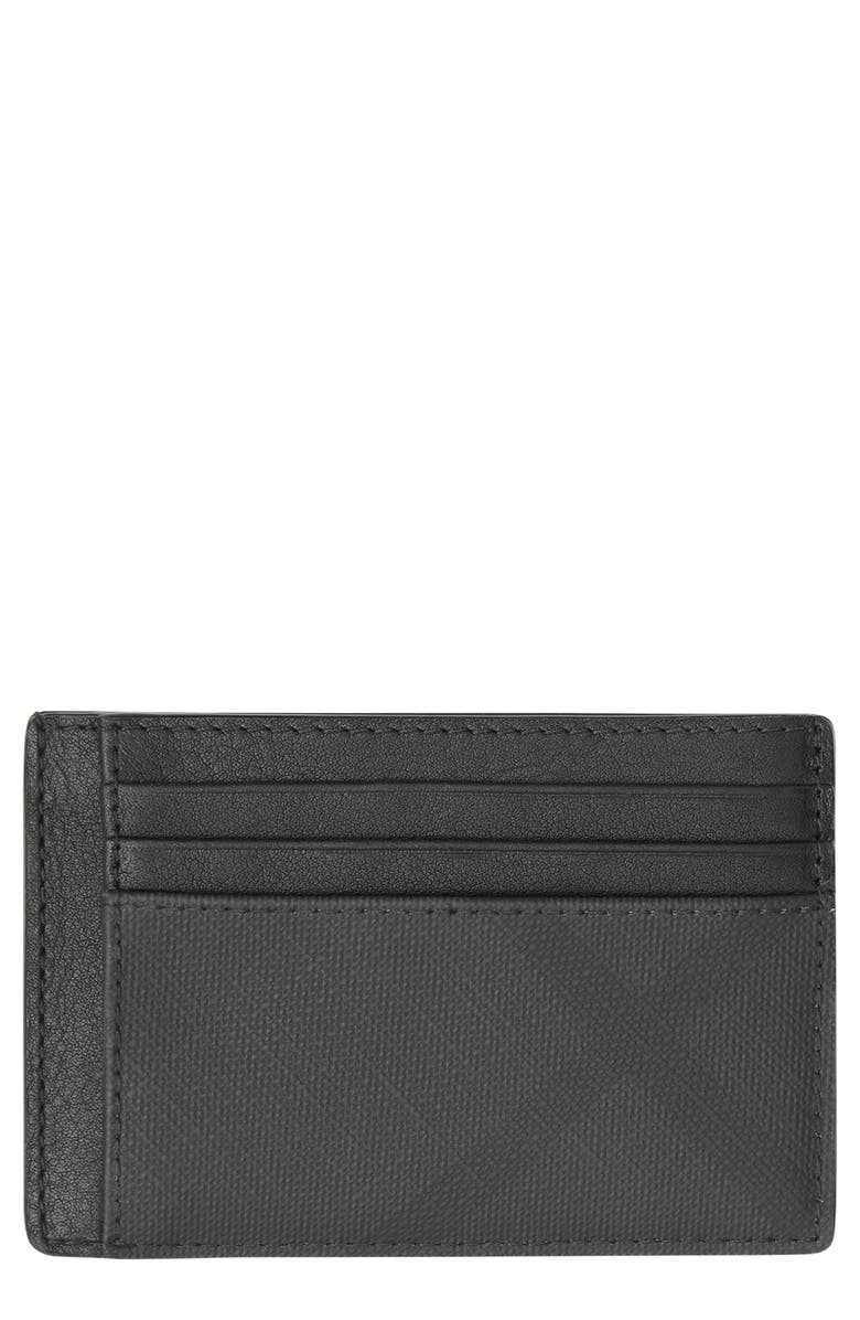 BURBERRY Chase London Check Card Case, Main, color, 001