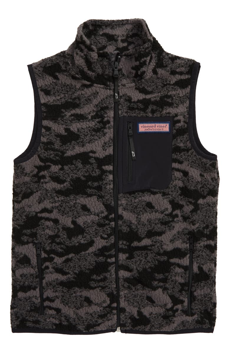 VINEYARD VINES Camo Jacquard Full Zip Fleece Vest, Main, color, JET BLACK