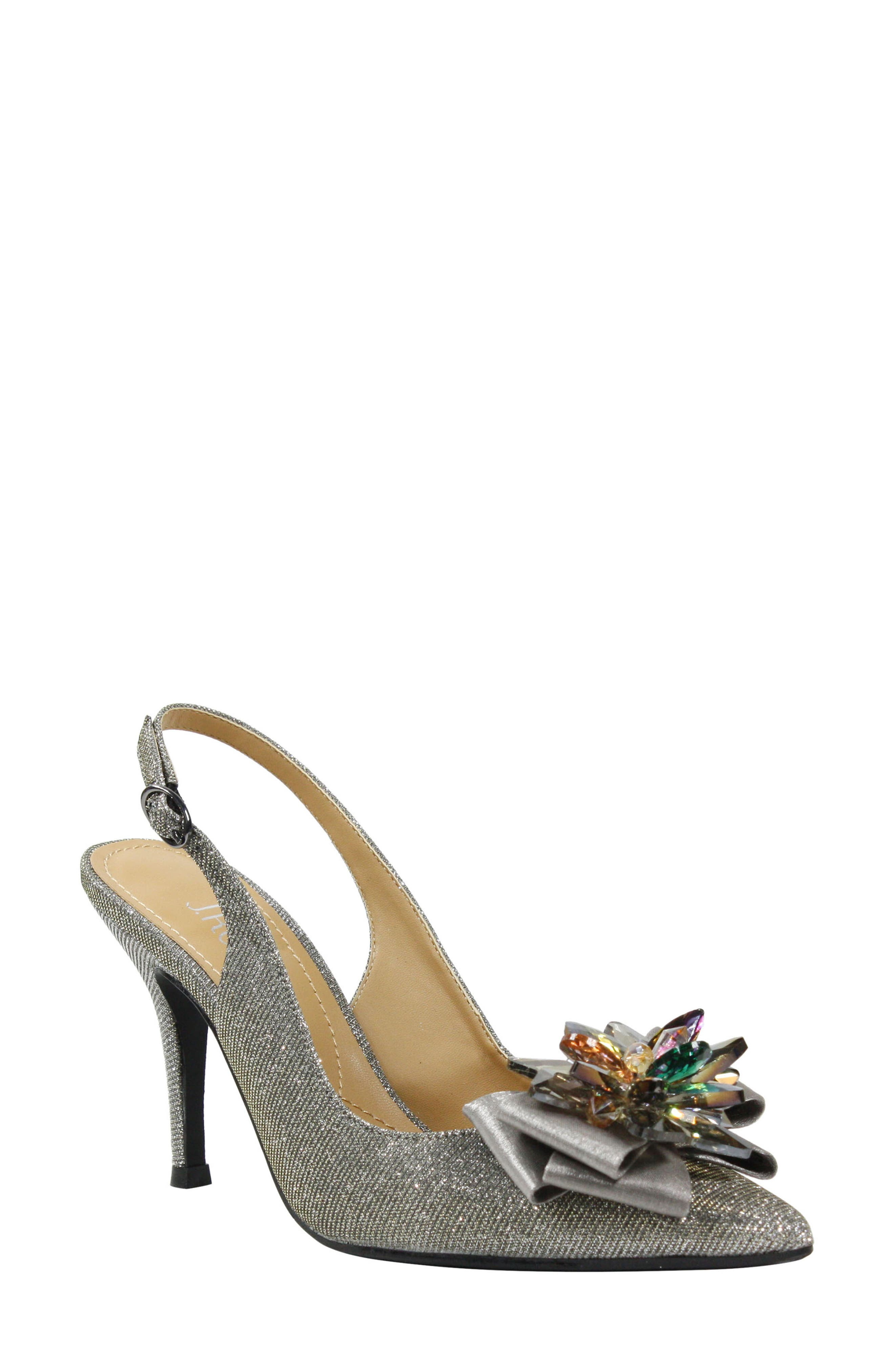 Glittery fabric, a faceted crystal ornament and a layered bow glam up a pointy-toe pump that\\\'s perfect for formal events or fancy dinners. A cushioned memory-foam footbed keeps you comfortable should you decide to hit the dance floor. Style Name:J. Renee Denyell Slingback Pump (Women). Style Number: 5798692. Available in stores.