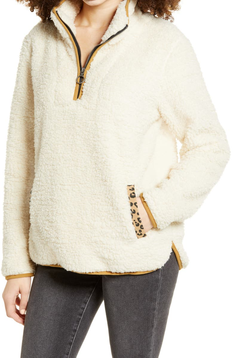 THREAD & SUPPLY Wubby Fleece Pullover, Main, color, IVORY/ LEOPARD