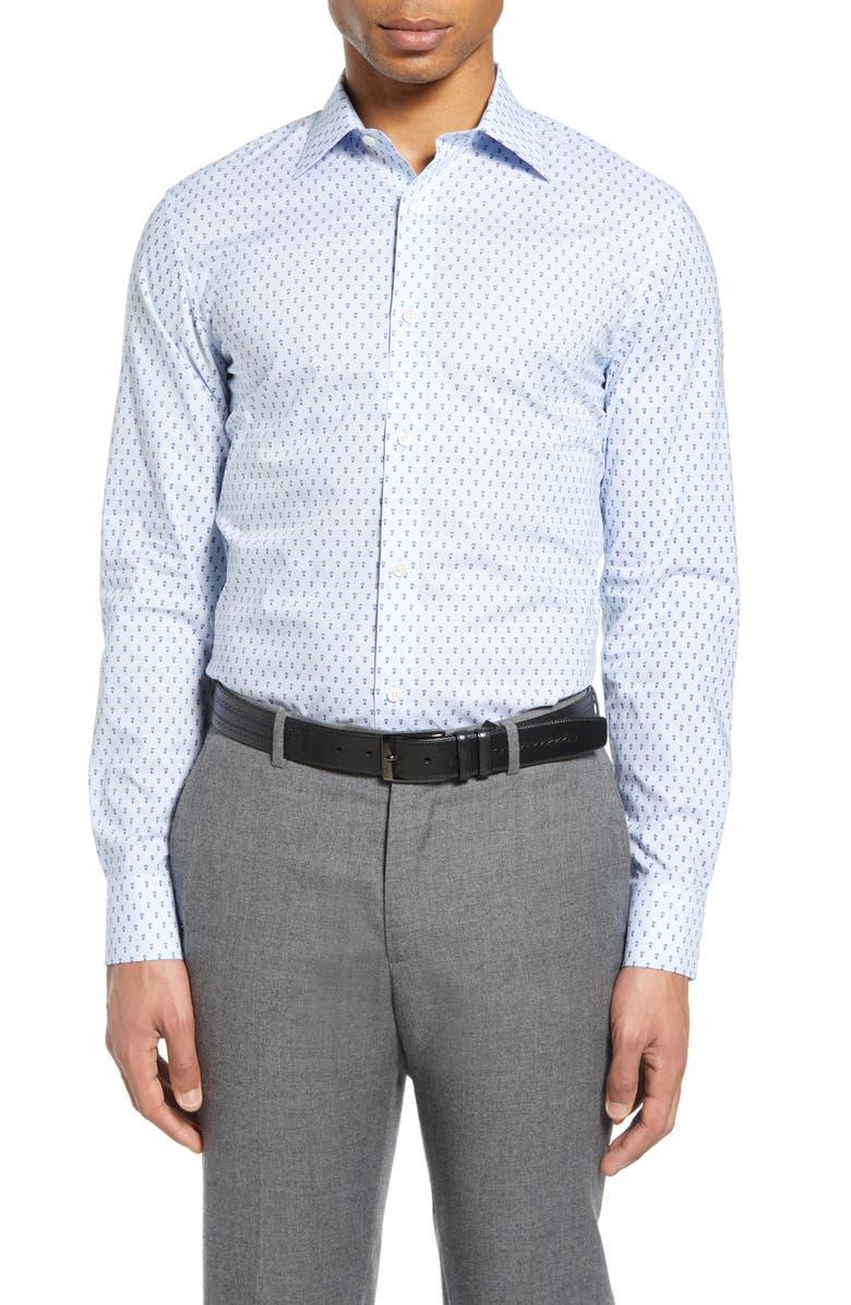 BONOBOS Slim Fit Pineapple Print Dress Shirt, Main, color, PINEAPPLE GEO AVIATOR BLUE