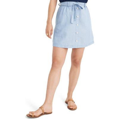 Madewell Button Front Tie Chambray Miniskirt, Blue