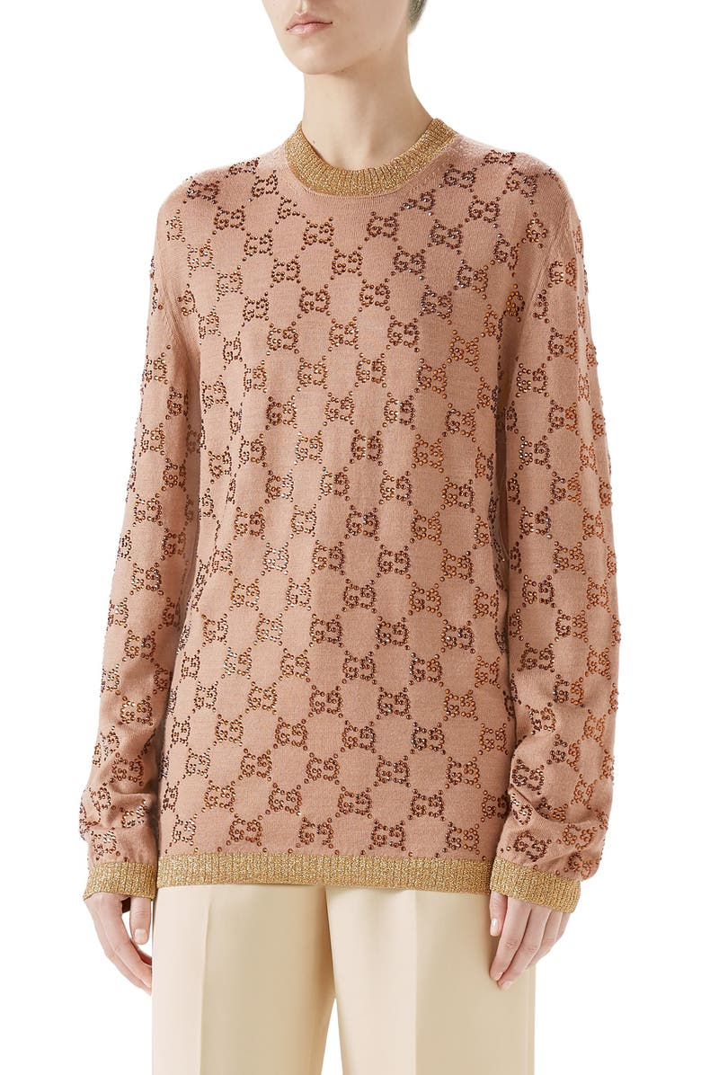 GUCCI Crystal GG Logo Sweater, Main, color, BEIGE