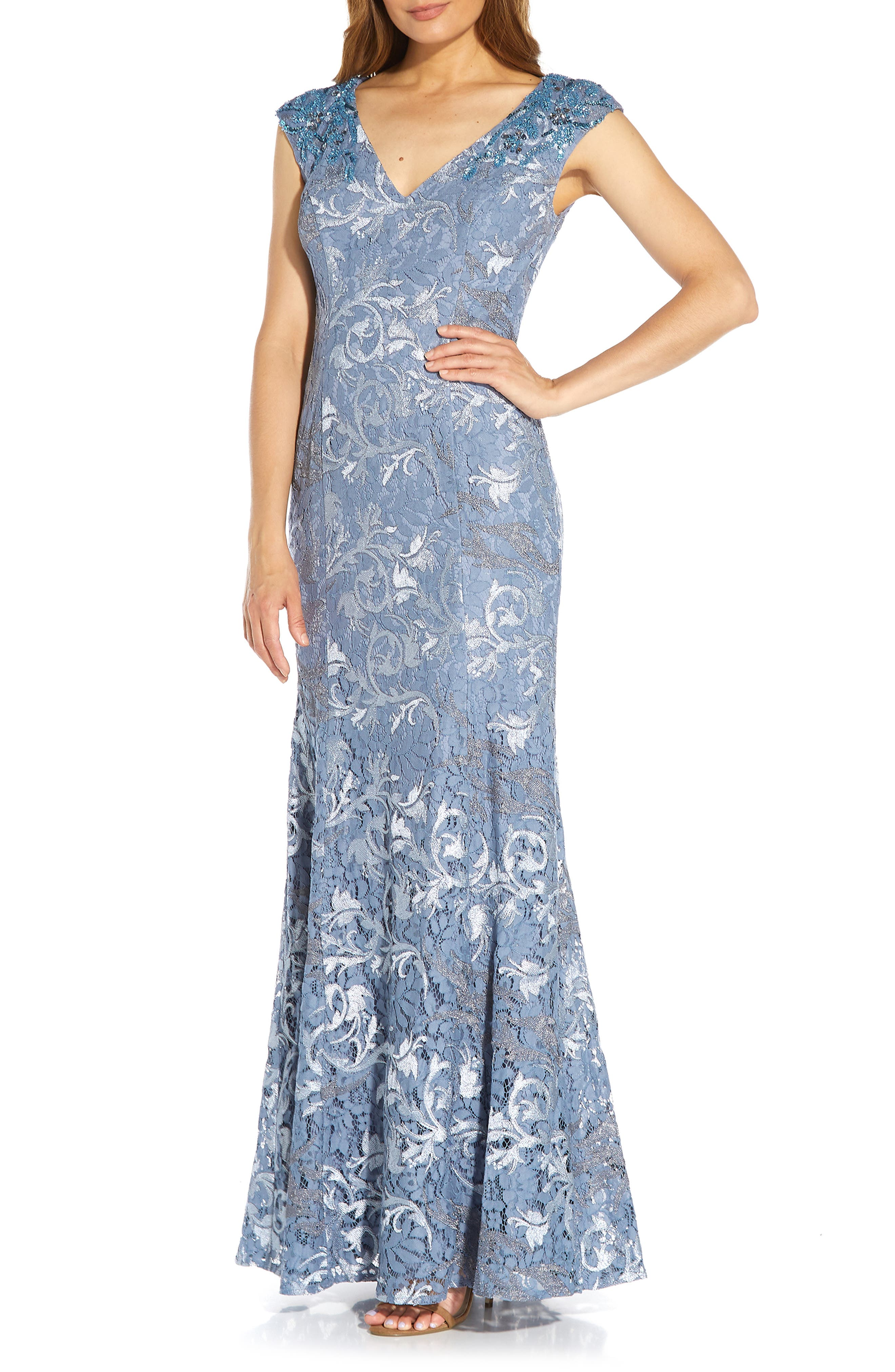 1930s Evening Dresses | Old Hollywood Silver Screen Dresses Womens Adrianna Papell Embroidered Lace Trumpet Gown Size 16 - Blue $349.00 AT vintagedancer.com