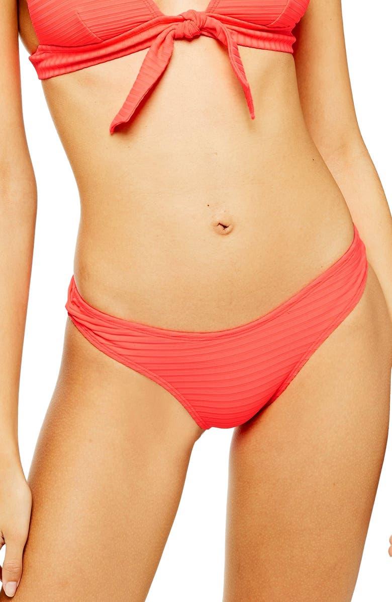 TOPSHOP Wide Rib Classic Bikini Bottoms, Main, color, RED