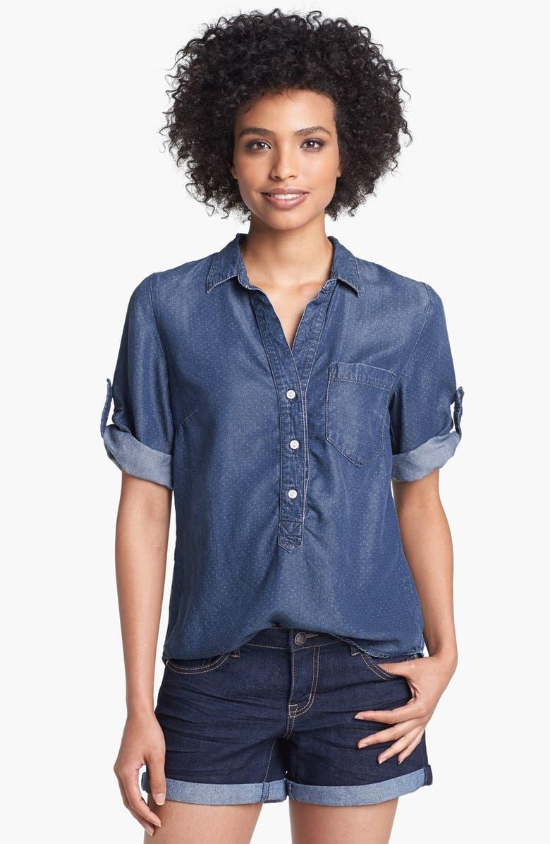LUCKY BRAND 'Charleigh' Polka Dot Chambray Shirt, Main, color, 430