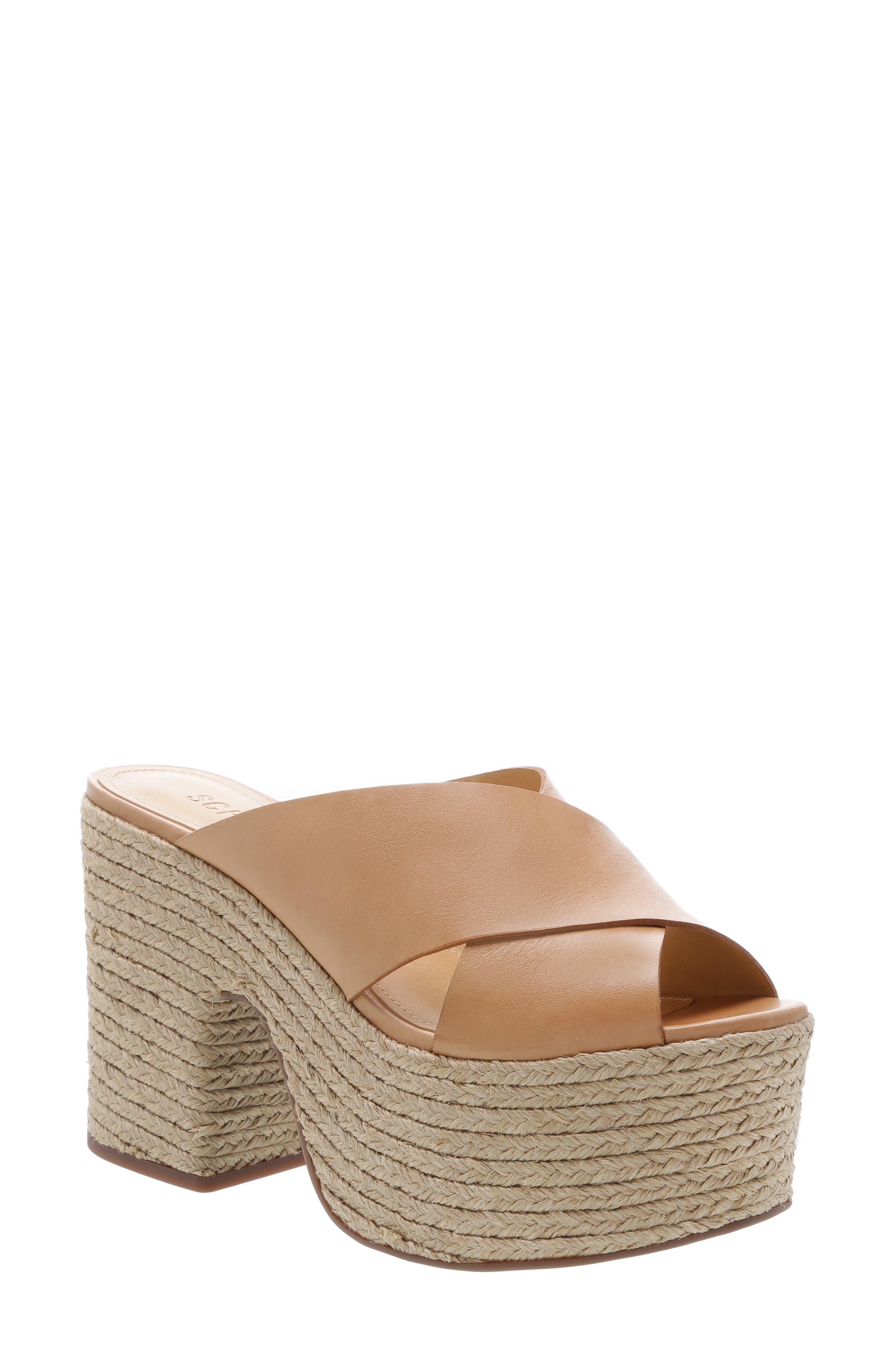 Schutz Lora Platform Sandal, Beige