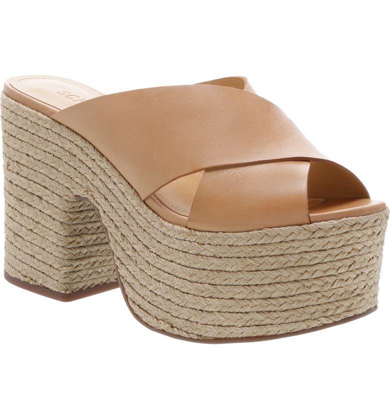 SCHUTZ Lora Platform Genuine Calf Hair Sandal, Main, color, 250