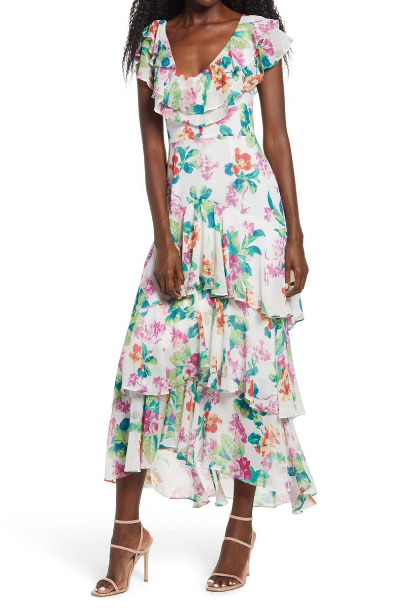 WAYF Chelsea Tiered Ruffle Maxi Dress, Main, color, IVORY TROPICAL