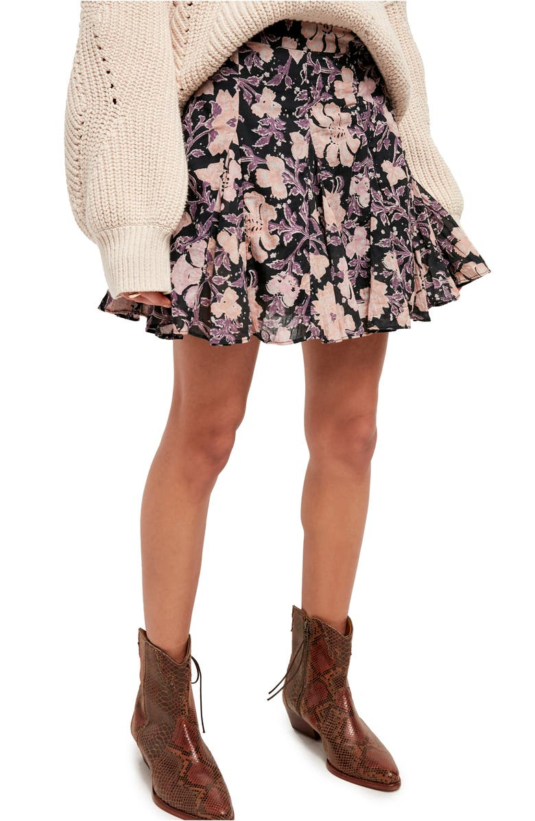 FREE PEOPLE End of the Island Godet Miniskirt, Main, color, WASHED BLACK COMBO