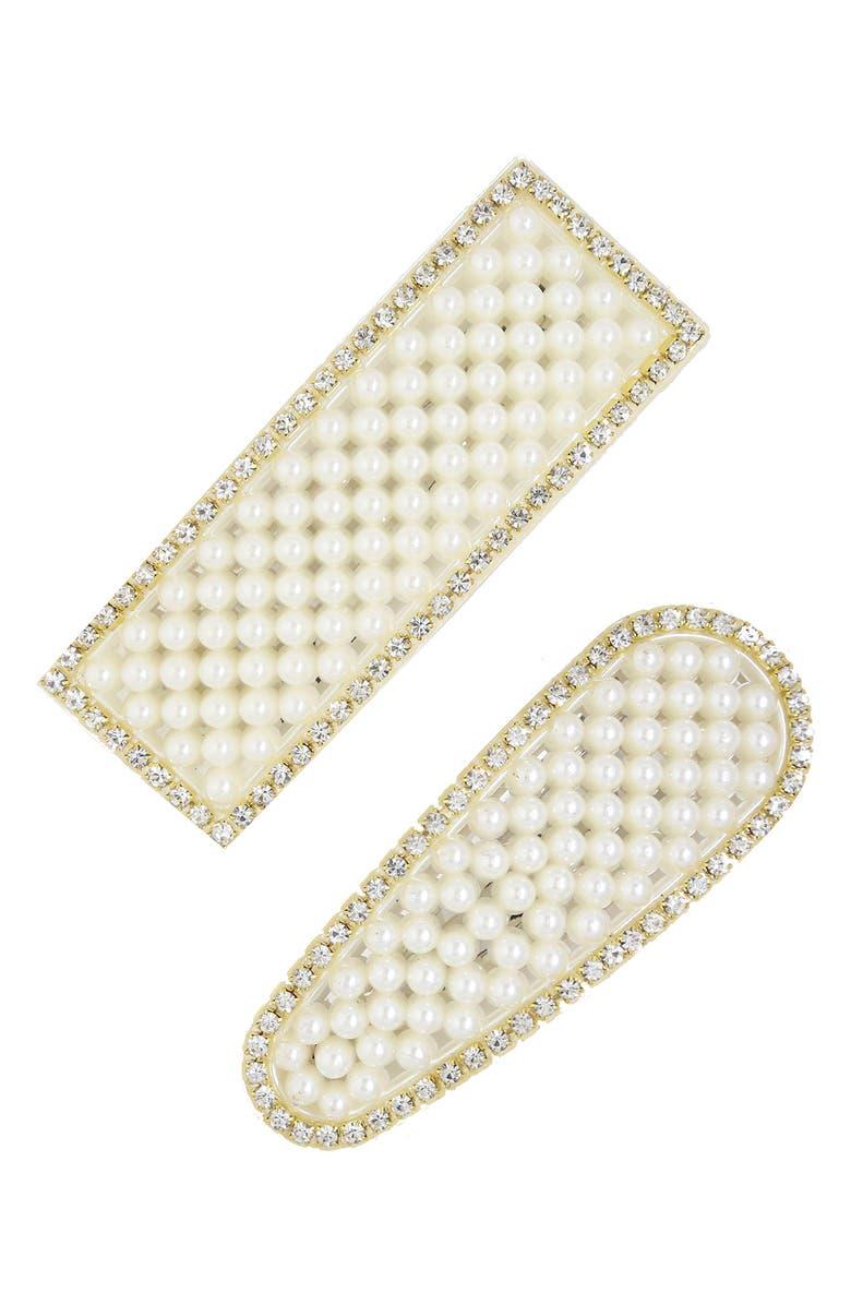ETTIKA 2-Pack Statement Imitation Pearl & Crystal Barrettes, Main, color, 710