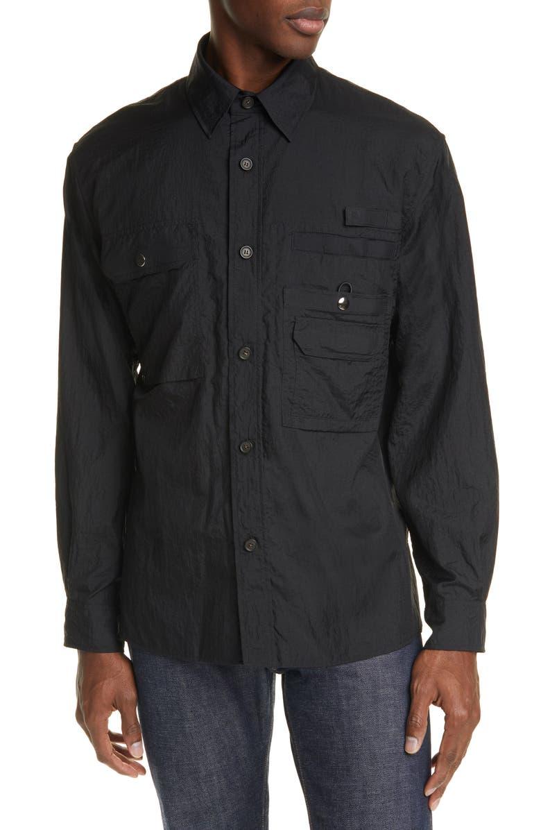 ACNE STUDIOS Orallo Button-Up Nylon Shirt Jacket, Main, color, BLACK