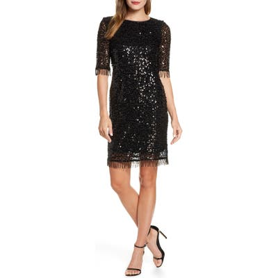 Taylor Dresses Fringed Sequin Dress, Black