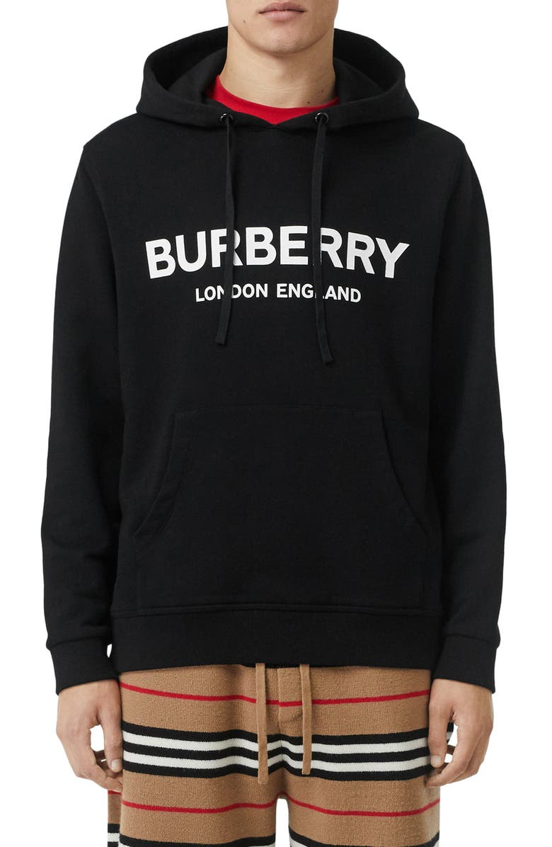 BURBERRY Xtone Logo Hoodie, Main, color, BLACK