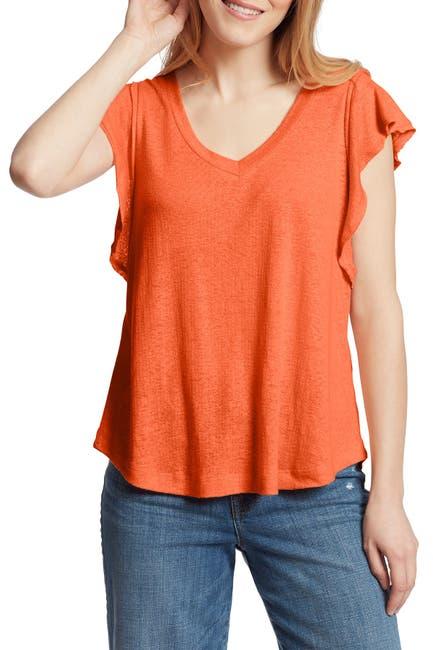 Image of Ella Moss Gemma Flutter Sleeve Linen Blend Shirt