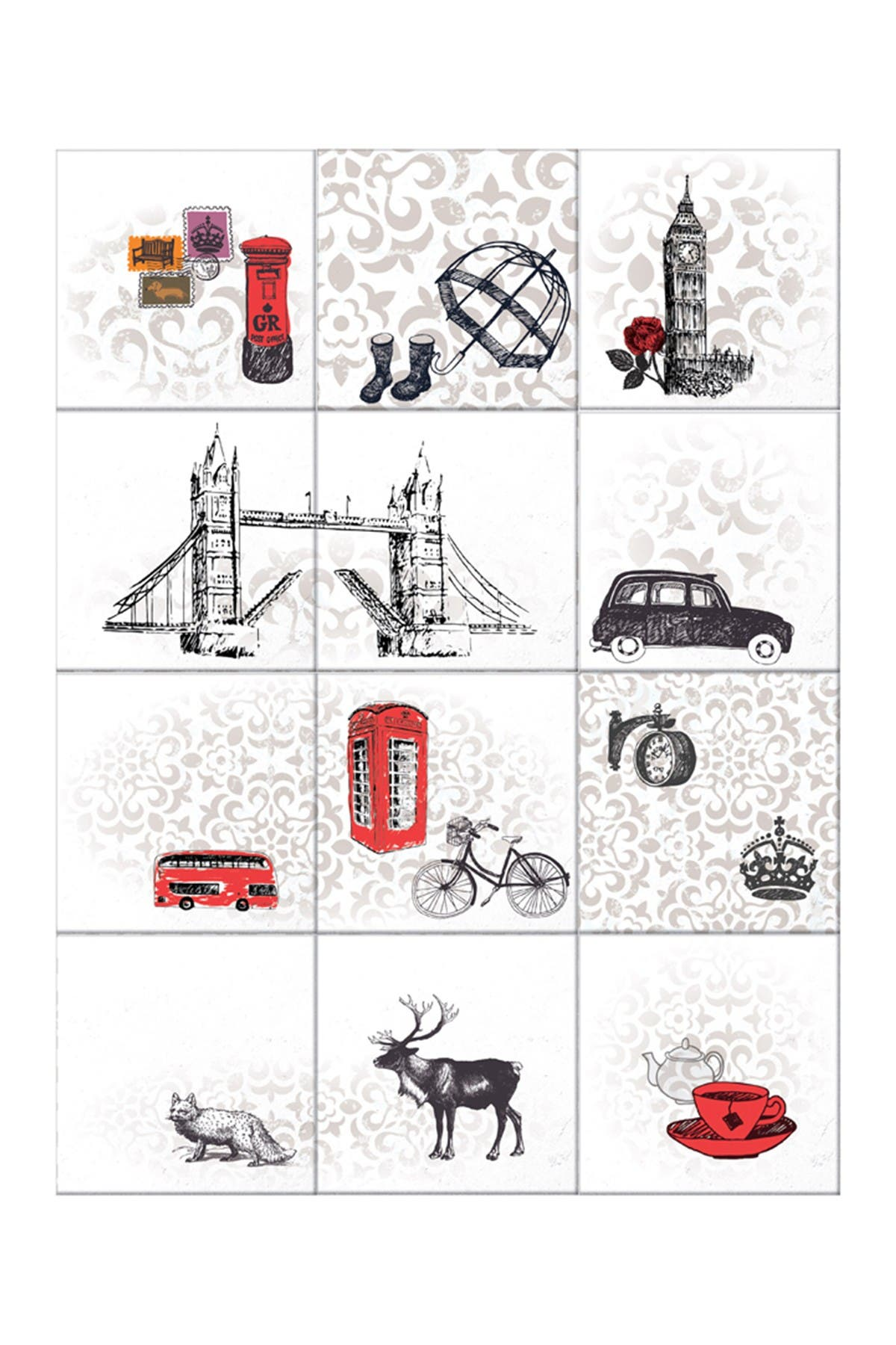 Image of WalPlus Londoner's Tiles Mix Wall Stickers