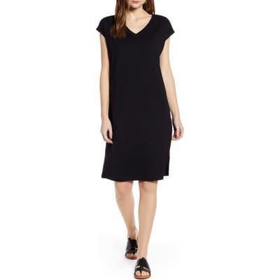 Petite Caslon Pocket T-Shirt Dress, Black