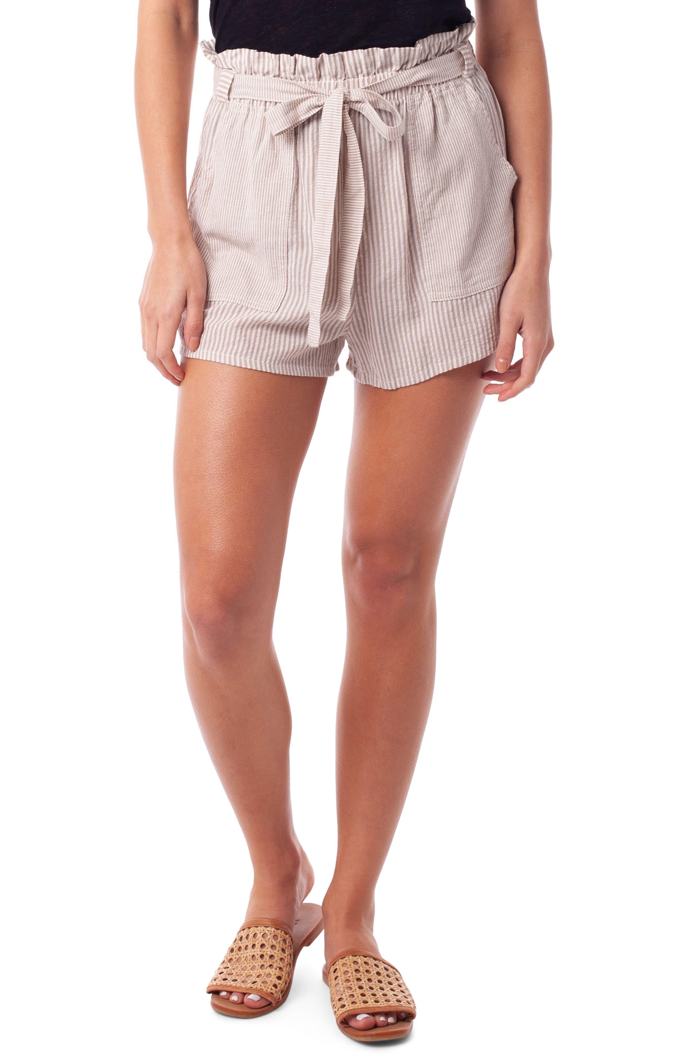 Rhythm Cancun Seersucker Cover-Up Shorts, Beige