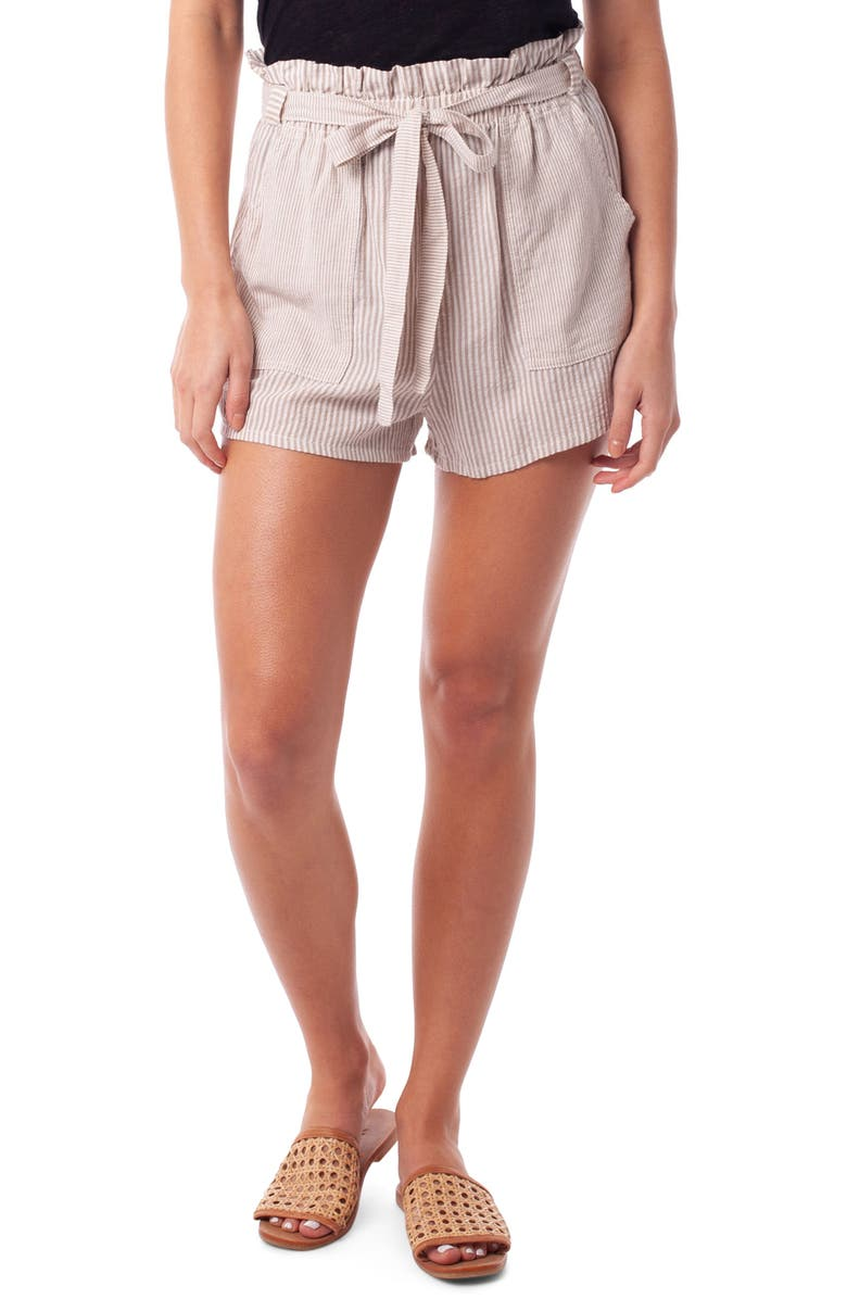 RHYTHM Cancun Seersucker Cover-Up Shorts, Main, color, SAND