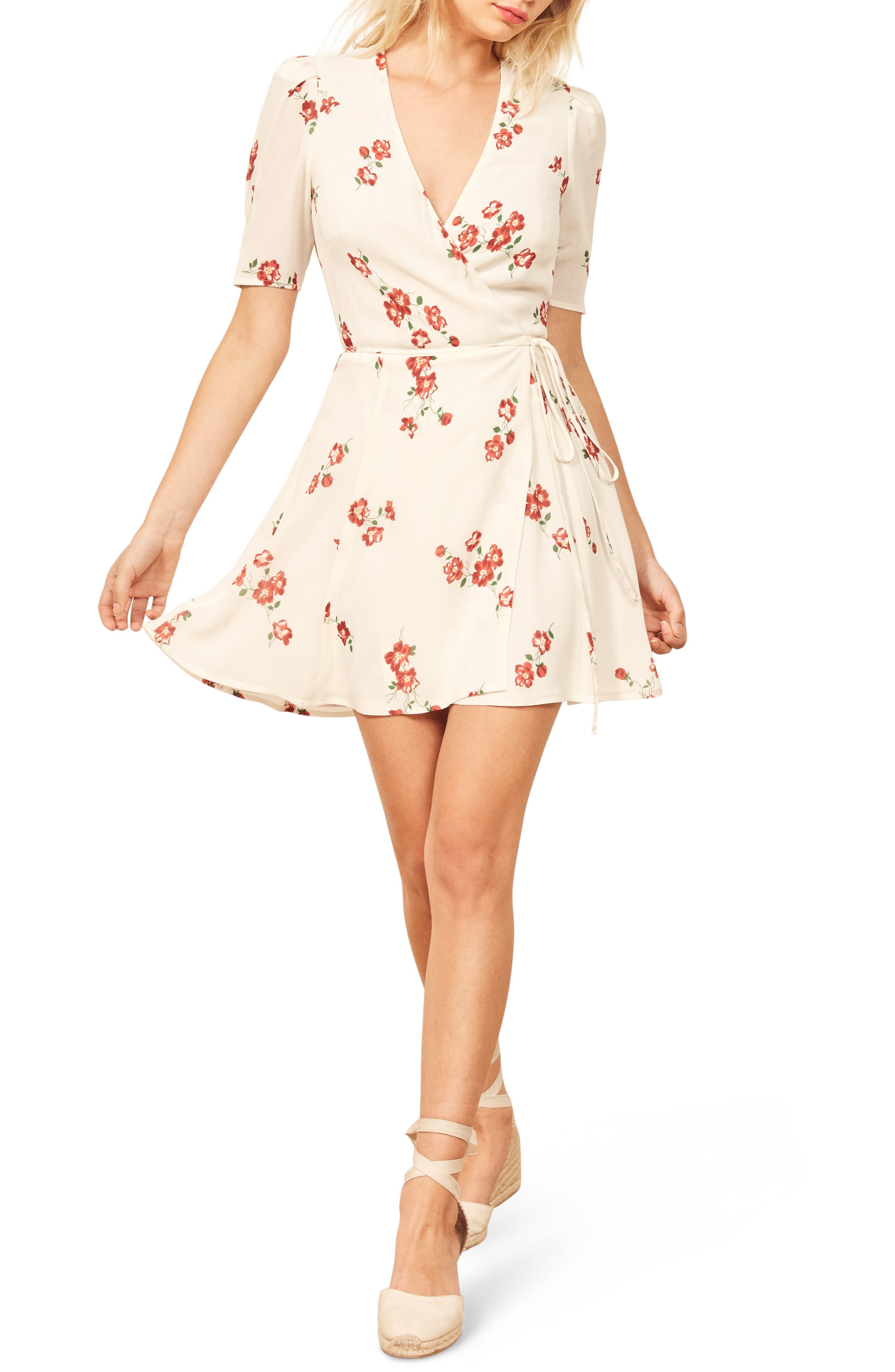 Reformation Lucky Wrap Dress, White
