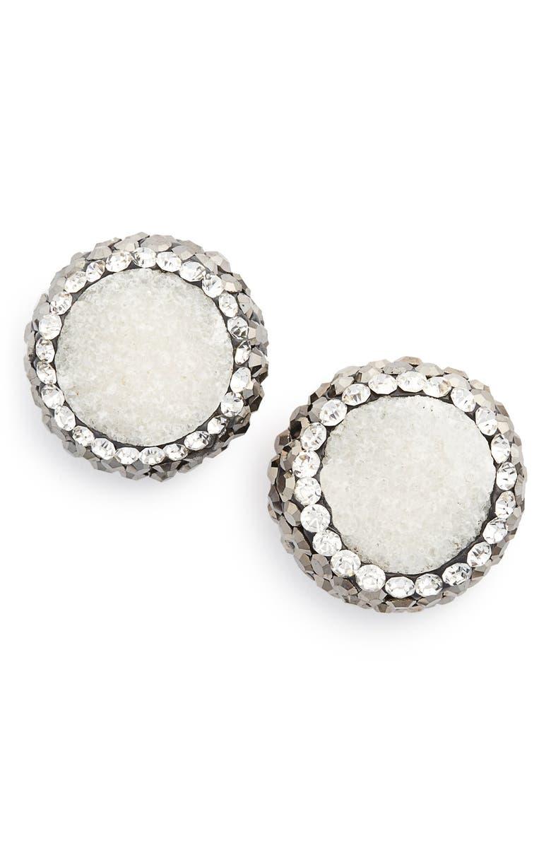 PANACEA 'Drusy Lux' Stud Earrings, Main, color, 020