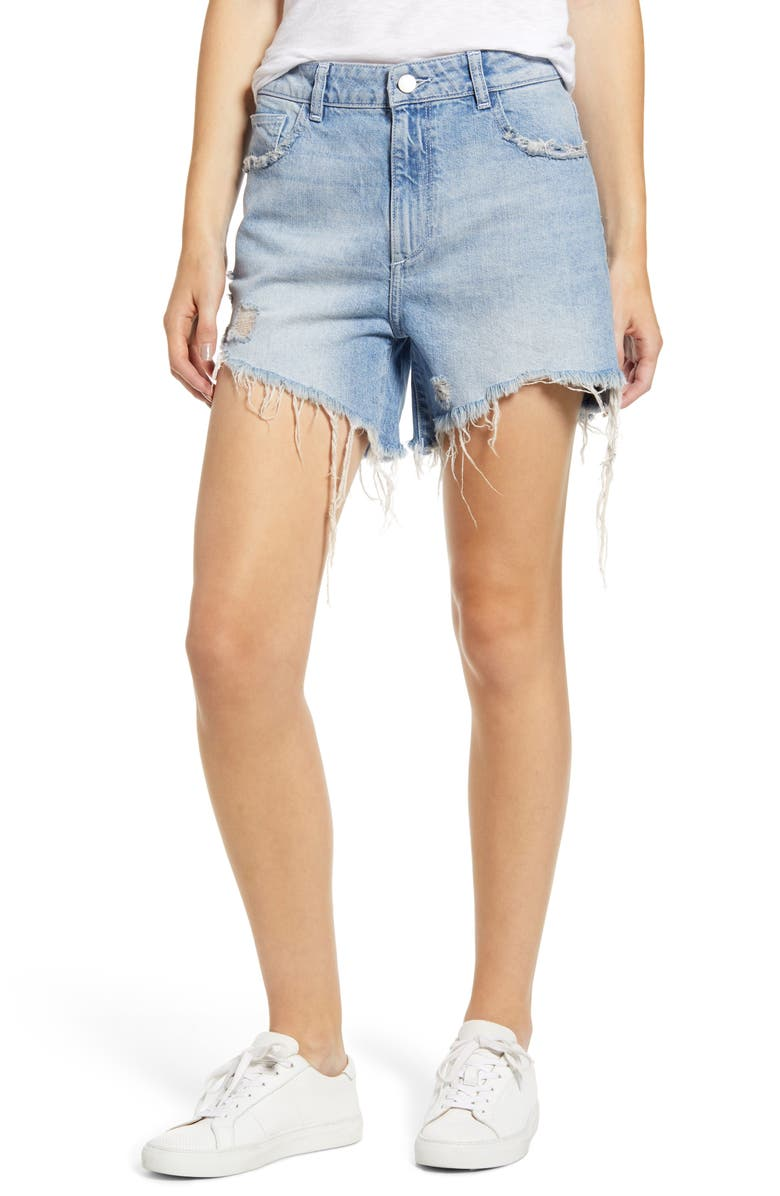 DL1961 Hepburn Ripped High Waist Denim Shorts, Main, color, RAINS