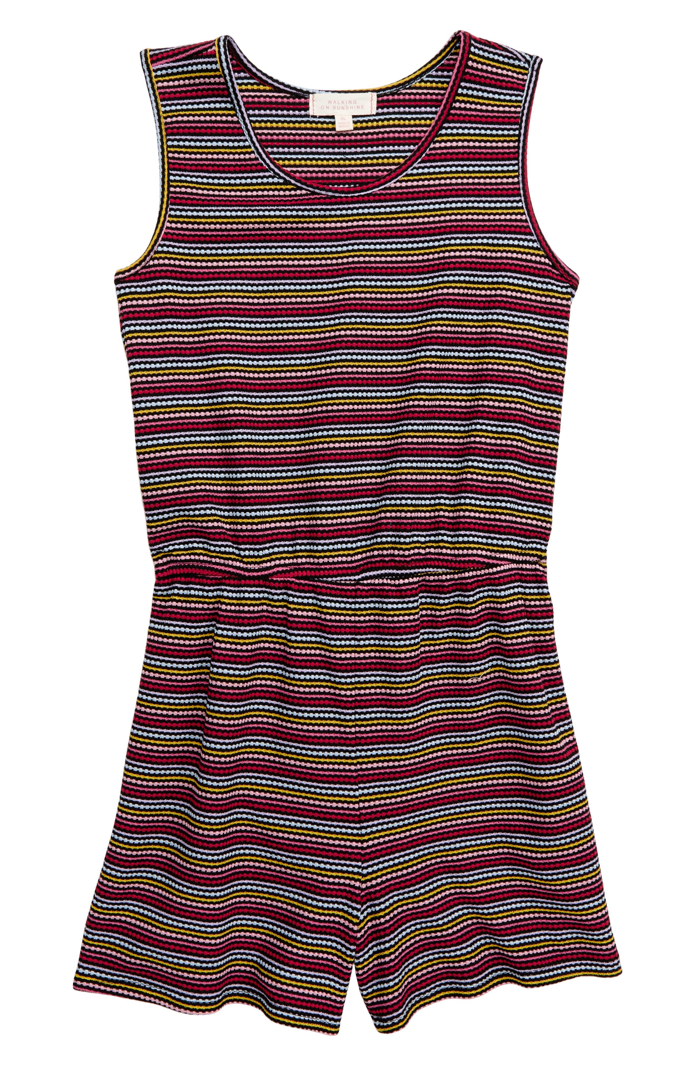 ,                             Rainbow Stripe Knit Romper,                             Main thumbnail 1, color,                             BLACK MULTI
