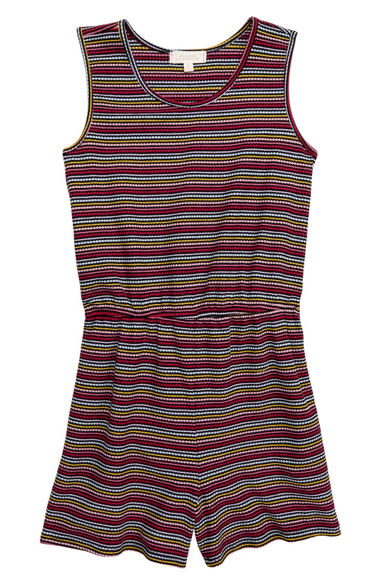 WALKING ON SUNSHINE Rainbow Stripe Knit Romper, Main, color, 001