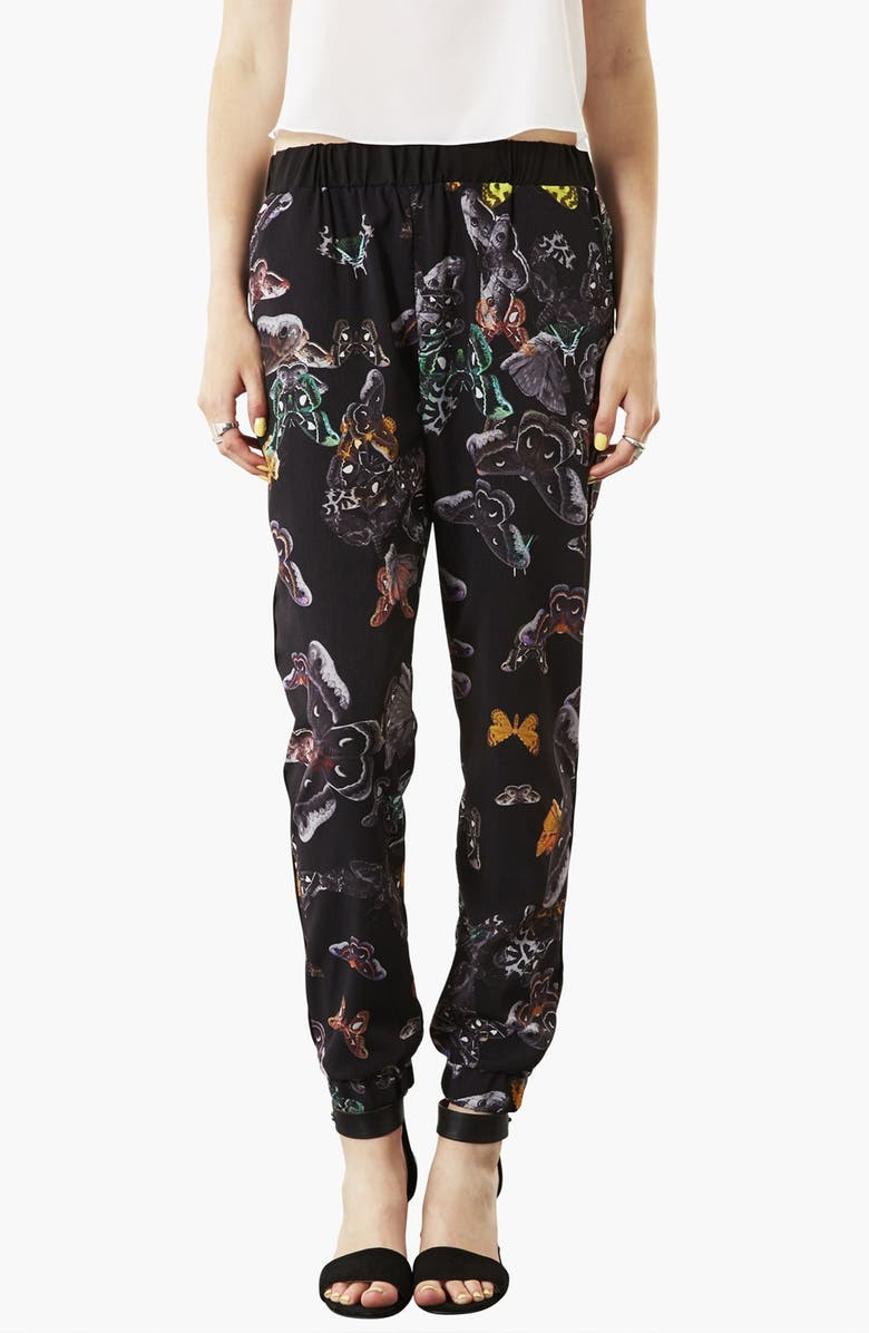 TOPSHOP 'Clutter Moth' Print Tapered Pants, Main, color, 001