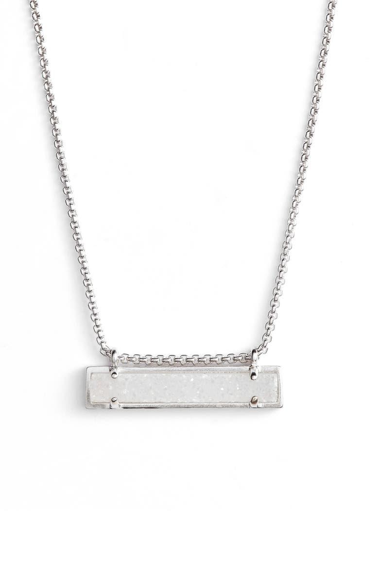 KENDRA SCOTT Leanor Pendant Necklace, Main, color, IRIDESCENT DRUSY/ SILVER
