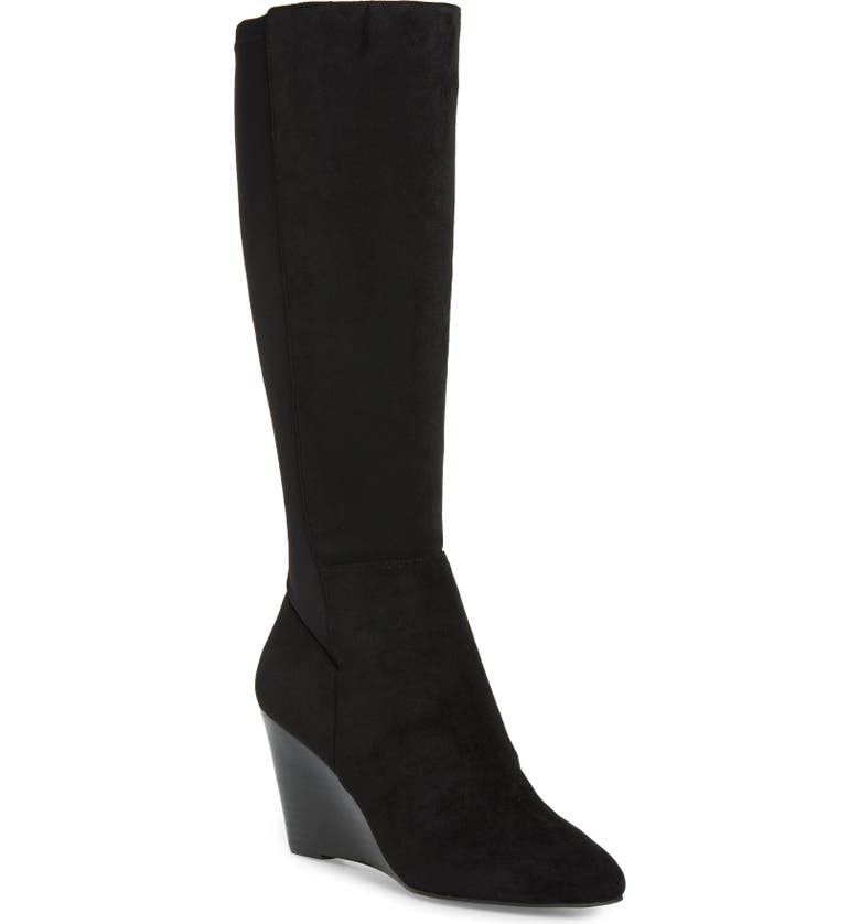 CHARLES BY CHARLES DAVID Energy Wedge Knee High Boot, Main, color, BLACK