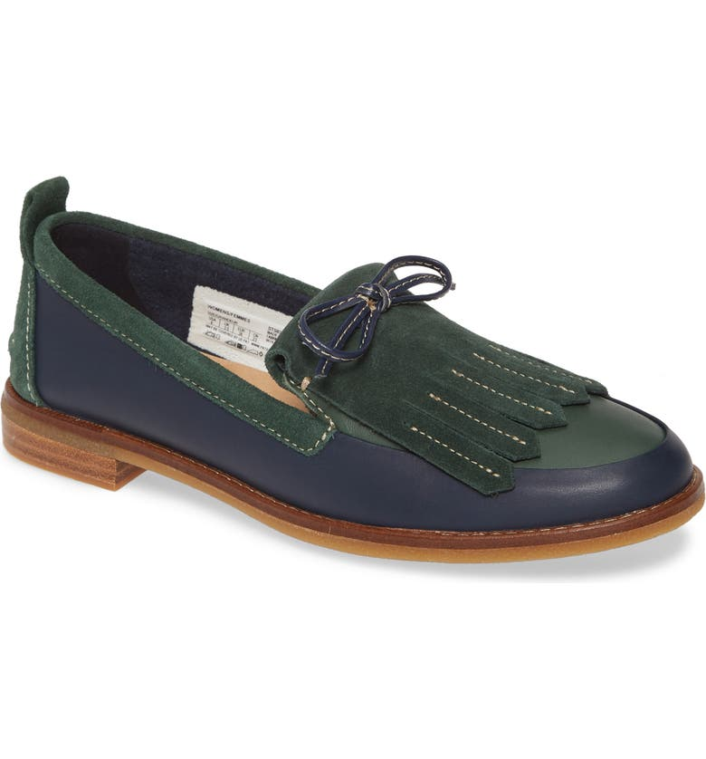 SPERRY Seaport Kiltie Loafer, Main, color, NAVY/ GREEN LEATHER